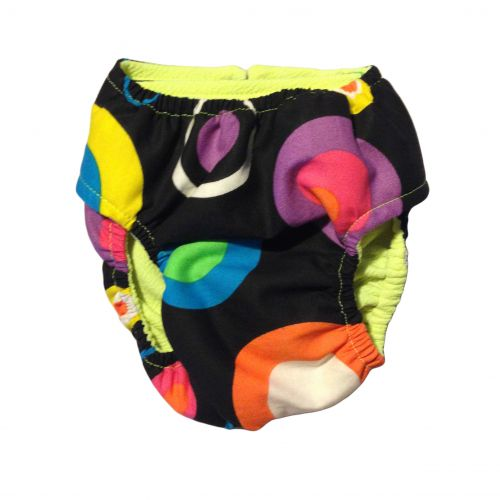color neon polka dot diaper - back