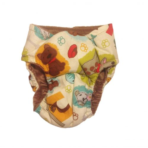 doggie with bones on cream white diaper - back