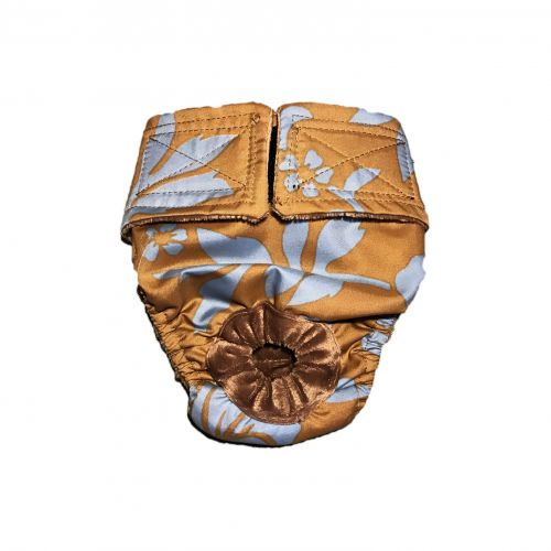 blue hawaiian hibiscus flower on brown diaper
