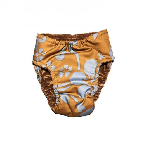 blue hawaiian hibiscus flower on brown diaper – back