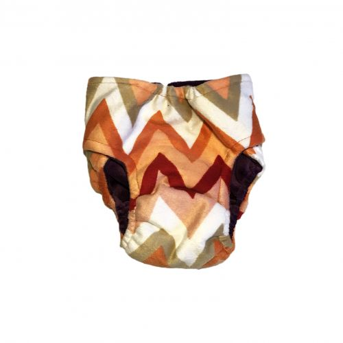 orange and red chevron minky diaper – back