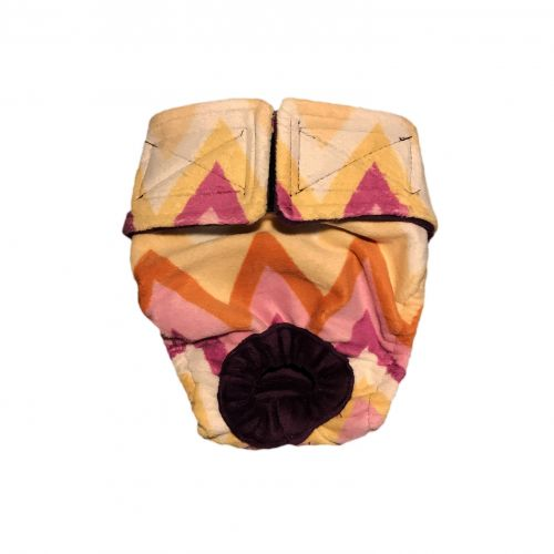 orange and yellow chevron minky diaper