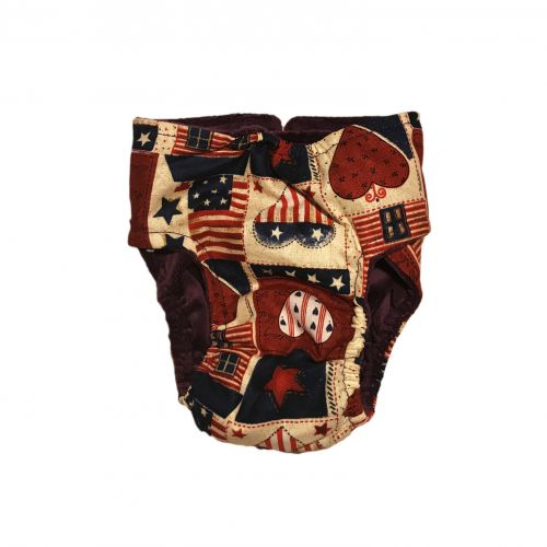 hearts and patriotic love diaper – back