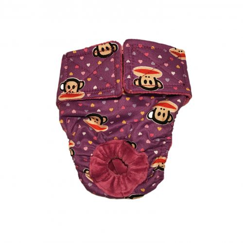 monkey heart on purple diaper