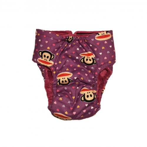 monkey heart on purple diaper - back
