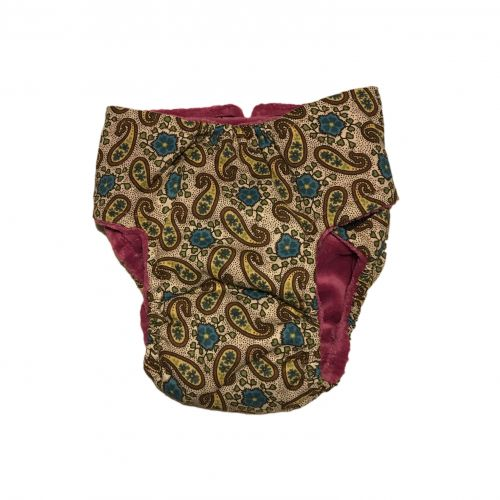 yellow paisley and blue flower diaper – back