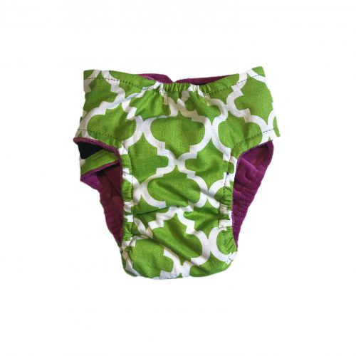 white quatrefoil on green diaper - back