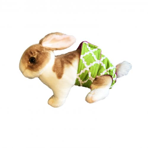 white quatrefoil on green diaper - bunny
