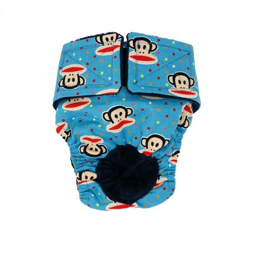 monkey and polka dot on blue diaper
