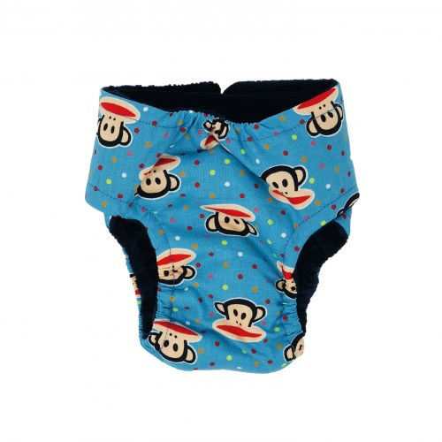 monkey and polka dot on blue diaper – back