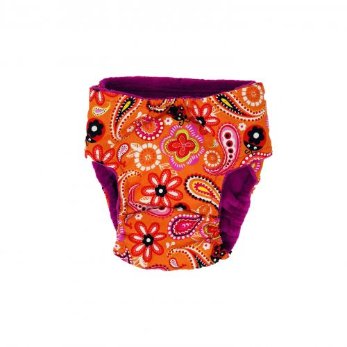 paisley flower on orange diaper - back