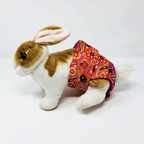 paisley flower on orange diaper - bunny