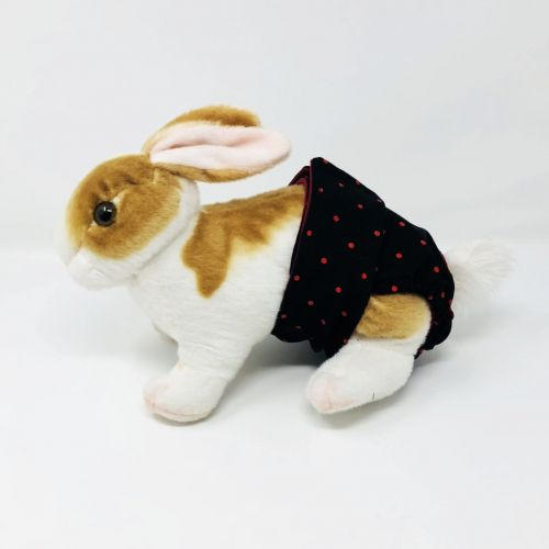red polka dot on black diaper - bunny