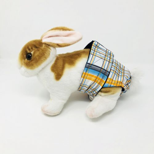 blue and yellow plaid diaper - bunny