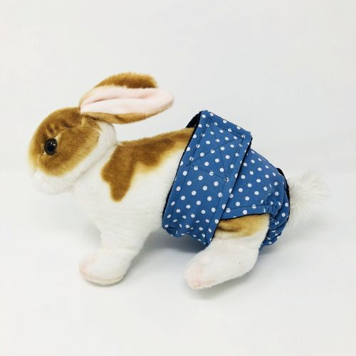 white polka dot on baby blue diaper - bunny