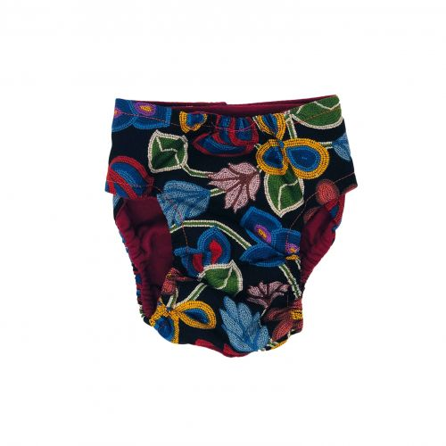 beautiful flowers on black diaper - back
