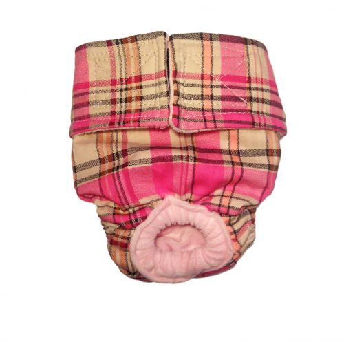 pink plaid diaper