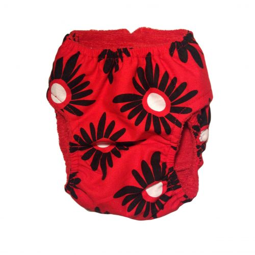 red and black flower diaper - back