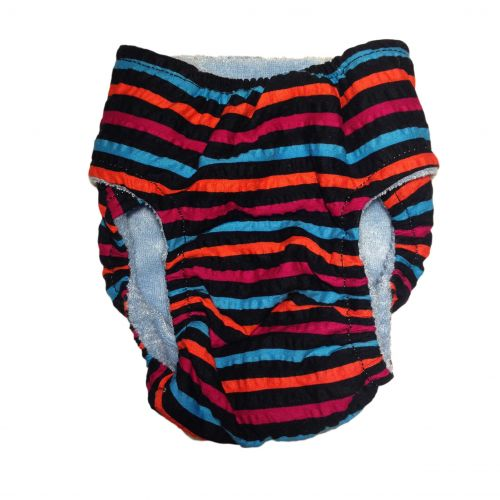 stripes on black diaper - back