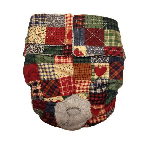 plaid and heart patch diaper