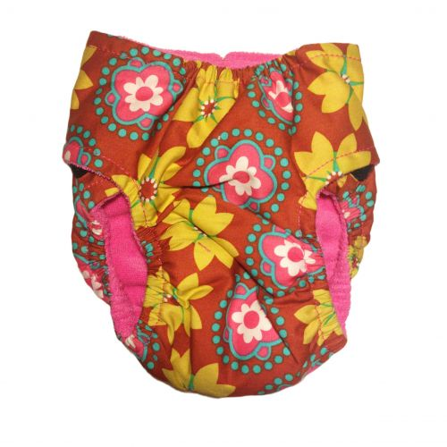 forever flower on orange diaper - back