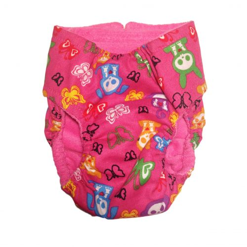 skelanimals on pink diaper - back