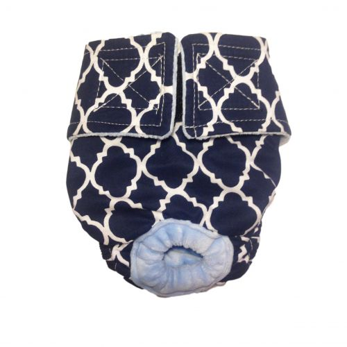 white quatrefoil on blue diaper