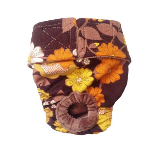 brown and yellow flowers diaper