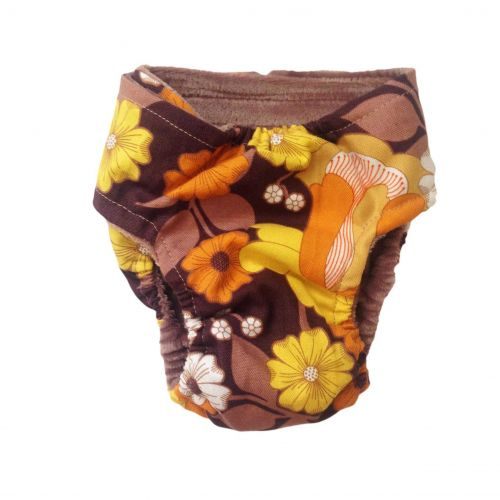 brown and yellow flowers diaper - back