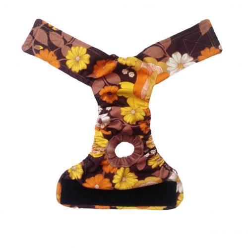 brown and yellow flowers diaper - back open
