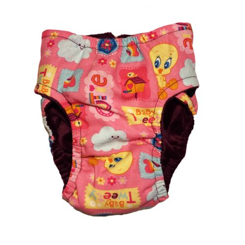 cutie baby tweety on pink diaper - back