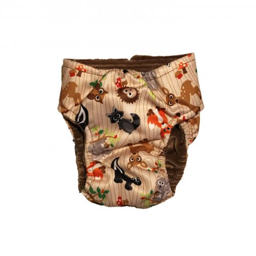 forest friends on brown pul diaper - back