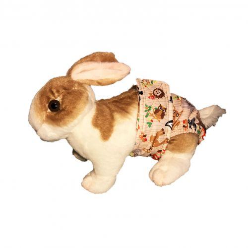 forest friends on brown pul diaper - bunny