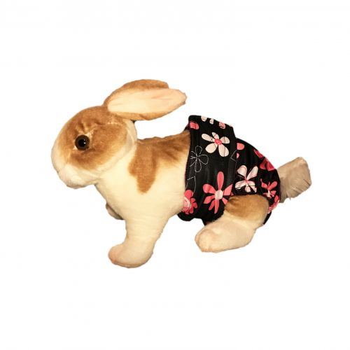 pink floral on black pul diaper - bunny