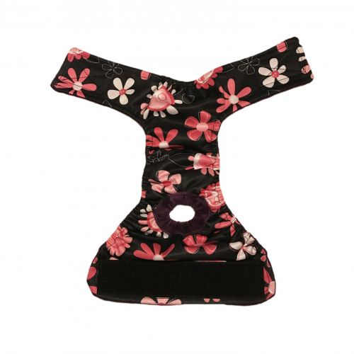 pink floral on black pul diaper - open