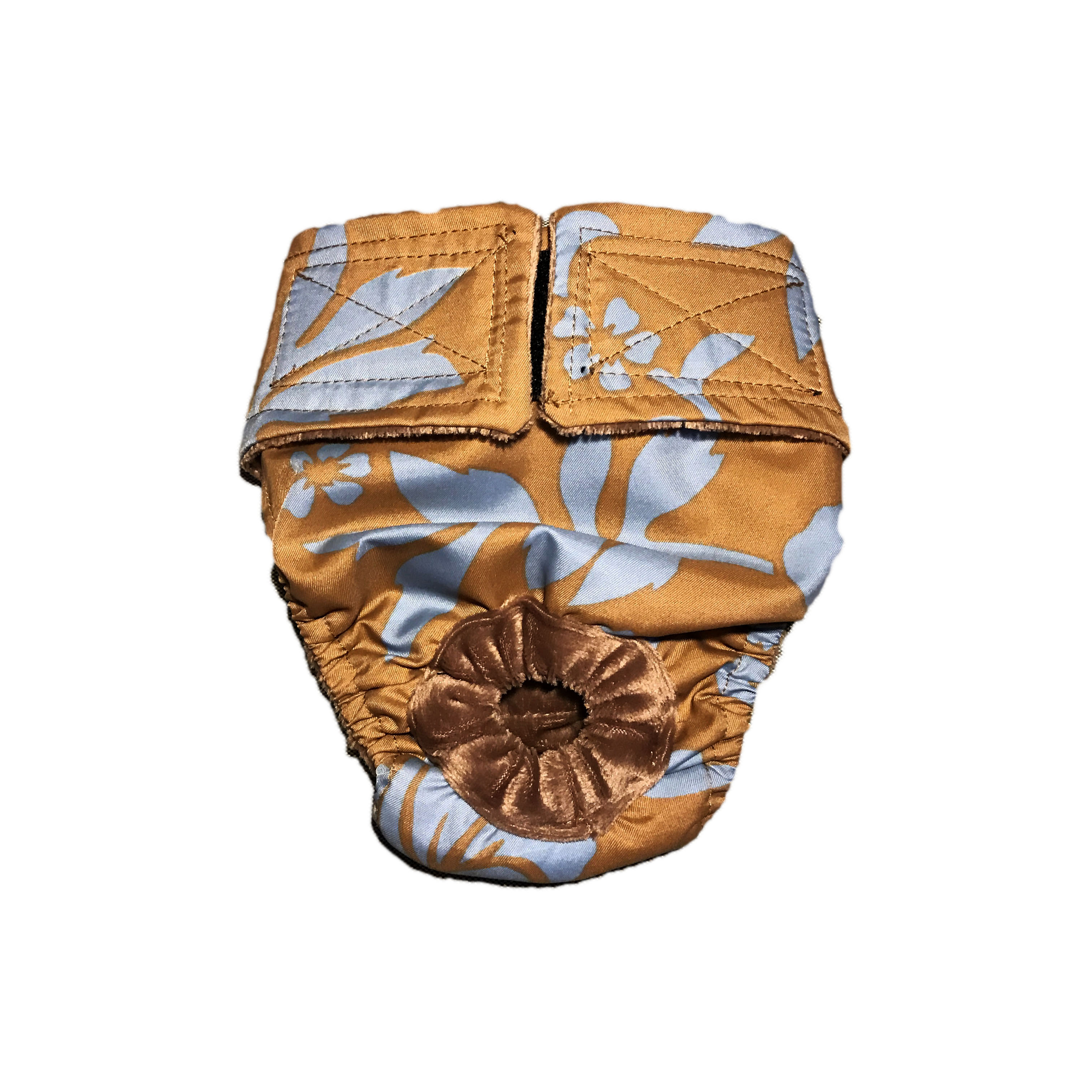 Blue Hawaiian Hibiscus Flower On Brown Washable Bunny Diaper Made