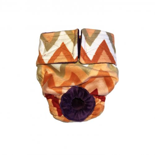 orange and red chevron minky diaper