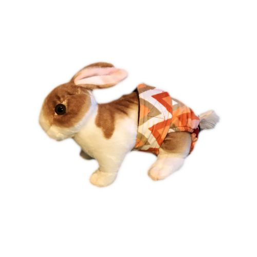 orange and red chevron minky diaper - bunny
