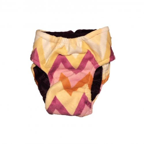 orange and yellow chevron minky diaper - back