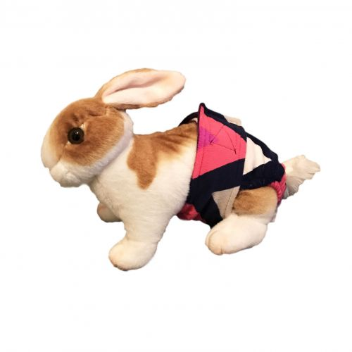 pink and blue chevron minky diaper - bunny