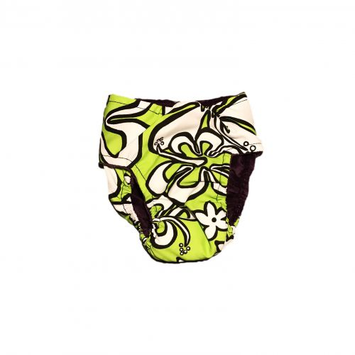 white hawaiian hibiscus on lime green diaper – back