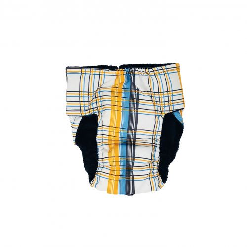 blue and yellow plaid diaper - back