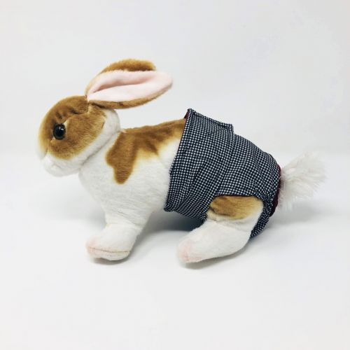 black and white gingham diaper - bunny