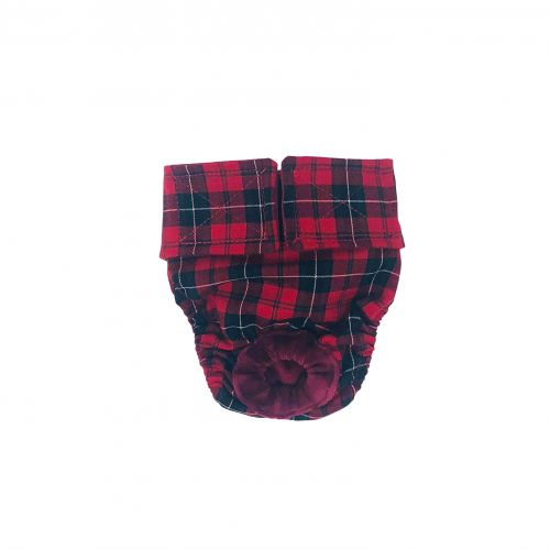 red plaid diaper