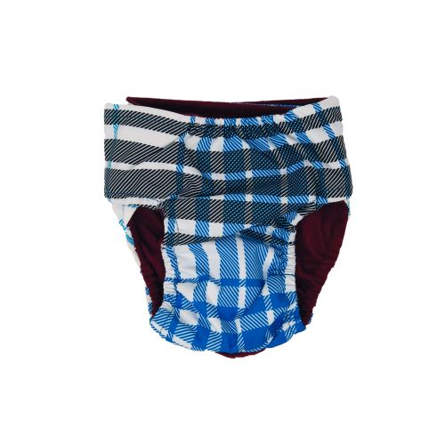 blue plaid waterproof diaper - back
