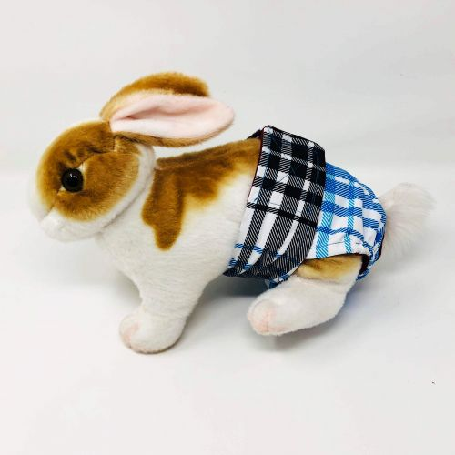 blue plaid waterproof diaper - bunny
