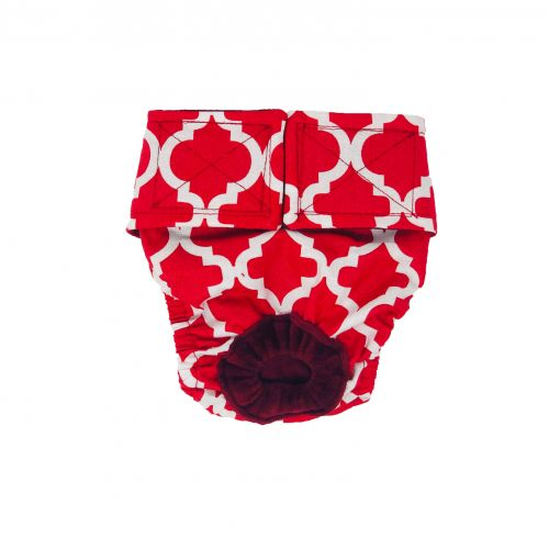 white quatrefoil on red diaper