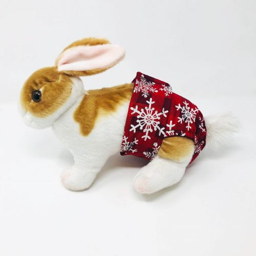 snowflakes on buffalo plaid diaper - bunny