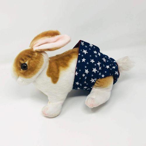white stars on navy blue diaper - bunny